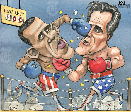 The Boxing Match of the Year: Barack Obama vs Mitt Romney by Fred Shadian